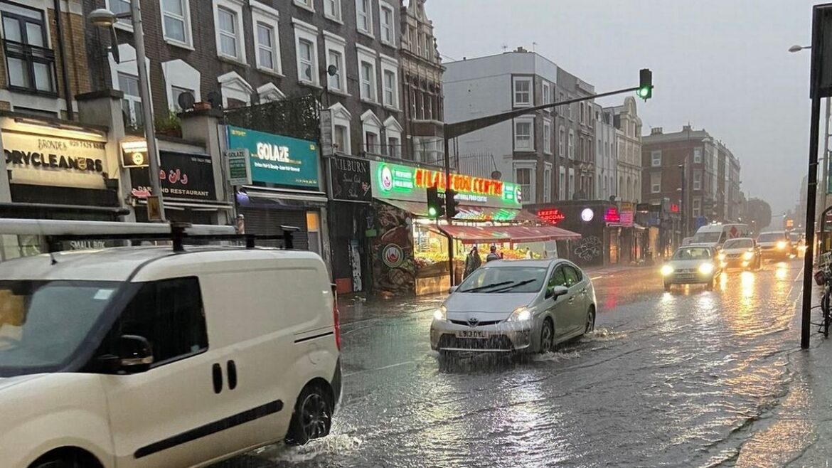 London flooding: Roads underwater as torrential rain causes chaos in the capital